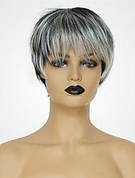 baratos -Perucas de cabelo capless do cabelo humano Cabelo Humano Natural Straight Corte Pixie Riscas Naturais Cinzento Escuro Fabrico à Máquina Peruca Mulheres