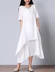 baratos -Mulheres Tamanhos Grandes Algodão Solto Vestido - Camadas, Sólido Decote V Médio Branco