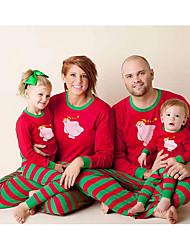 Недорогие -Семейный вид Животное Длинный рукав Пижамы