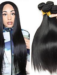 Недорогие -4 Связки Перуанские волосы Прямой Натуральные волосы Необработанные натуральные волосы Человека ткет Волосы Удлинитель Пучок волос 8-28 дюймовый Естественный цвет Ткет человеческих волос / 8A