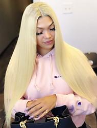 Недорогие -Синтетические кружевные передние парики Жен. Прямой Блондинка Стрижка каскад / Средняя часть Искусственные волосы 26 дюймовый Мягкость / Регулируется / Жаропрочная Блондинка Парик Длинные / Да