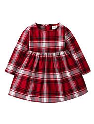 baratos -bebê Para Meninas Básico Natal Houndstooth Manga Longa Acrílico / Poliéster Vestido Vermelho 100 / Bébé