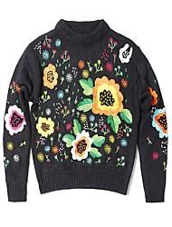 baratos -pullover solto de manga comprida para senhora - floral / colorido maciço