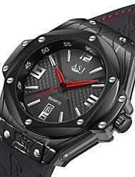 Недорогие -ASJ Муж. Спортивные часы Японский Японский кварц Натуральная кожа Черный 100 m Защита от влаги Календарь Аналоговый На каждый день минималист - Черный Черный / Серебристый Один год Срок службы батареи