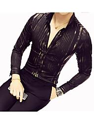 Недорогие -Муж. С принтом Рубашка Хлопок Полоски / Длинный рукав / Для клуба / Классический воротник / Тонкие