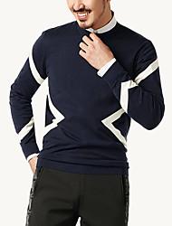 tanie -Męskie Codzienny Moda miejska Kolorowy blok Długi rękaw Regularny Pulower Niebieski L / XL / XXL