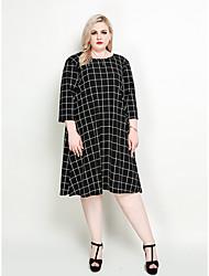 hesapli -Kadın's Büyük Bedenler Tatil Sokak Şıklığı Zarif Salaş Kombinezon Tişört Elbise - Kareli Diz-boyu Siyah ve Beyaz