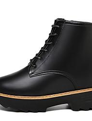 저렴한 -여성용 구두 PU 가을 겨울 부츠 낮은 굽 둥근 발가락 부티 / 앵클 부츠 일상 / 사무실 및 경력 용 블랙 / 버건디