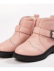 Недорогие -Девочки Обувь Полиуретан Зима Модная обувь Ботинки Пряжки / Молнии для Дети Черный / Розовый / Сапоги до середины икры