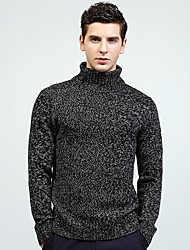 tanie -Męskie Codzienny Moda miejska Solidne kolory Długi rękaw Regularny Pulower Brązowy / Czarny L / XL / XXL
