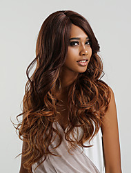 cheap -Synthetic Lace Front Wig Body Wave Brown Side Part Burgundy Medium Brown / Dark Auburn Black / Rose 150% Density Synthetic Hair 24 inch Women's Color Gradient Brown Wig Long Lace Front MAYSU / Yes