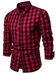 Недорогие -Муж. С принтом Рубашка Деловые / Классический Гусиная лапка