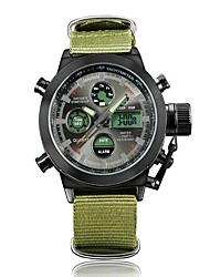Недорогие -Муж. Спортивные часы электронные часы Японский Цифровой Нейлон Зеленый 30 m Защита от влаги Календарь Секундомер Аналого-цифровые Мода - Черный / зеленый Зеленый / Фосфоресцирующий