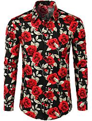 Недорогие -Муж. Пэчворк Рубашка Уличный стиль / Панк & Готика Цветочный принт