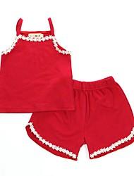Недорогие -2шт Дети (1-4 лет) Девочки Активный / Классический Повседневные маргаритка Однотонный Кружева Без рукавов Обычный Обычная Хлопок Пижамы Красный 100