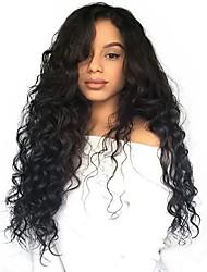 Недорогие -человеческие волосы Remy Необработанные натуральные волосы 6x13 Тип замка Лента спереди Парик Ассиметричная стрижка Глубокое разделение Боковая часть стиль Бразильские волосы Волнистый Свободные волны