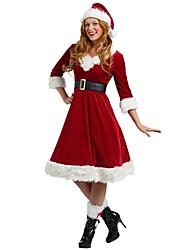Недорогие -Костюмы Санта Клауса Жен. Взрослые Старшая школа Хэллоуин Рождество Рождество Хэллоуин Карнавал Фестиваль / праздник Инвентарь Красный Однотонный Рождество