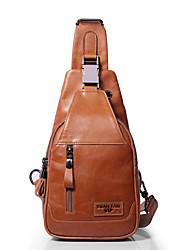 Недорогие -Муж. Мешки Слинг сумки на ремне Молнии Сплошной цвет Желтый / Темно-коричневый