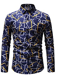 Недорогие -Муж. С принтом Рубашка Классический Полоски / Контрастных цветов