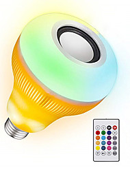 Недорогие -YWXLIGHT® 1шт 12 W 1050-1150 lm B22 / E26 / E27 Умная LED лампа 48 Светодиодные бусины SMD Диммируемая / Активация звуком / На пульте управления RGB 85-265 V