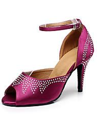 Недорогие -Жен. Обувь для латины Сатин На каблуках Crystal / Rhinestone Тонкий высокий каблук Персонализируемая Танцевальная обувь Лиловый