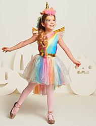 abordables -Princesse Unicorn Costume de Cosplay Fille Enfant Robes Maille Noël Halloween Carnaval Fête / Célébration Tulle Coton Tenue Arc-en-ciel Arc-en-ciel Licorne