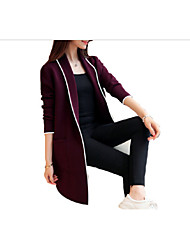 abordables -Femme Quotidien Basique Longue Blazer, Couleur Pleine Revers Cranté Manches Longues Coton Noir / Rouge / Gris L / XL / XXL