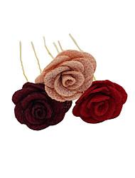 Недорогие -Ткань Заколка для волос с Цветы 3 предмета Свадьба / Вечеринка / ужин Заставка