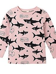 お買い得  -幼児 女の子 活発的 日常 幾何学模様 長袖 ポリエステル Tシャツ ピンク
