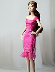 f9df9a94f4f0 Vestiti Un pezzo Per Bambola Barbie Fucsia Tessile   Raso elasticizzato  Abito Per Ragazza Bambola giocattolo