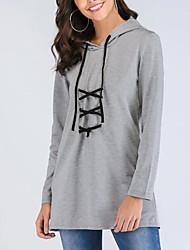 baratos -camisola de mangas compridas para senhora - cor sólida em volta do pescoço cinza s