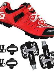 Недорогие -SIDEBIKE Взрослые Велообувь с педалями и шипами / Обувь для горного велосипеда Углеволокно Амортизация Велоспорт Красный / черным Муж. Обувь для велоспорта / Дышащая сетка