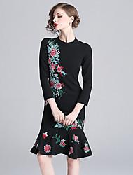 Недорогие -платье для женщин / для вечеринок до колен тонкое облегающее с высокой талией черное s m l xl