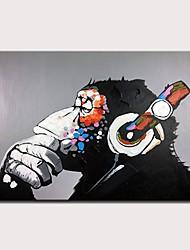 Недорогие -Hang-роспись маслом Ручная роспись - Абстракция Поп-арт Modern Без внутренней части рамки / Рулонный холст