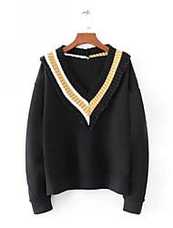 baratos -camisola de mangas compridas para senhora - cor sólida v neck preto s
