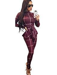 abordables -Femme Quotidien Basique Noir Marine Vin Combinaison-pantalon, Couleur Pleine / Rayé L XL XXL Manches Longues