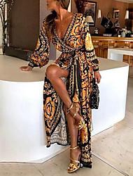 abordables -Femme Plage Fête / Soirée / Soirée / Sexy Maxi Tee Shirt Robe Fleur / A Fleur V Profond Orange M L XL Coton Manches Longues