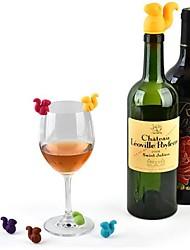 Недорогие -7 шт. Белка бутылка вина пробка силиконовый напиток стеклянная чашка маркеры распознаватель этикетка