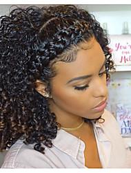 Недорогие -человеческие волосы Remy Натуральные волосы 360 Лобовой Парик стиль Монгольские волосы Kinky Curly Черный Парик 150% 180% Плотность волос / Природные волосы / Парик в афро-американском стиле