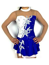 abordables -Robe de Patinage Artistique Femme / Fille Patinage Robes Bleu / blanc Mosaïque Spandex Haute élasticité Compétition Tenue de Patinage Classique Manches Longues Patinage Artistique