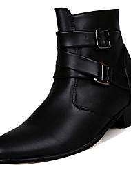 hesapli -Erkek Ayakkabı PU Kış Günlük Çizmeler Yarı-Diz Boyu Çizmeler Günlük için Beyaz / Siyah / Kahverengi