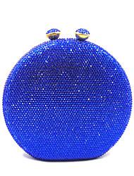 baratos -Mulheres Bolsas Cetim / PU Bolsa de Festa Detalhes em Cristal Côr Sólida Roxo / Fúcsia / Azul Real