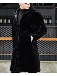 Недорогие -Муж. Повседневные Уличный стиль Длинная Пальто с мехом, Однотонный Капюшон Длинный рукав Шерсть Черный XL / XXL / XXXL