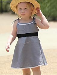 お買い得  -子供 女の子 甘い 日常 チェック ノースリーブ 膝丈 ポリエステル ドレス ブラック