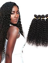 Недорогие -4 Связки Индийские волосы Kinky Curly Натуральные волосы Человека ткет Волосы Пучок волос One Pack Solution 8-28 дюймовый Естественный цвет Ткет человеческих волос Мягкость Шелковистость Натуральный