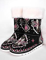 Недорогие -Жен. Наппа Leather Весна & осень / Зима Шинуазери (китайский стиль) Ботинки На плоской подошве Круглый носок Ботинки Черный
