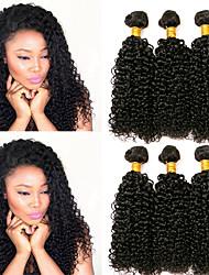Недорогие -3 Связки Бразильские волосы Индийские волосы Кудрявый Kinky Curly 8A Натуральные волосы Необработанные натуральные волосы Подарки Фотография Человека ткет Волосы 8-28 дюймовый Естественный цвет
