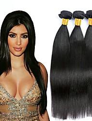 Недорогие -3 Связки Бразильские волосы Прямой Не подвергавшиеся окрашиванию Необработанные натуральные волосы Человека ткет Волосы Сувениры для чаепития Уход за волосами 8-28 inch Естественный цвет