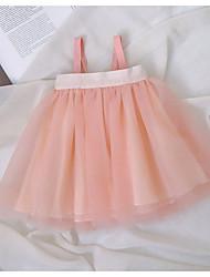 お買い得  -赤ちゃん 女の子 活発的 ソリッド レイヤード ノースリーブ ポリエステル ドレス ピンク