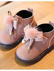 Недорогие -Девочки Обувь Кожа Зима Обувь для малышей / Детская праздничная обувь Кеды Бант / Пом пом для Дети Черный / Бежевый / Розовый